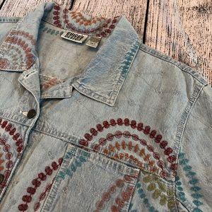 Chico's lightweight embroidered denim jacket, 16